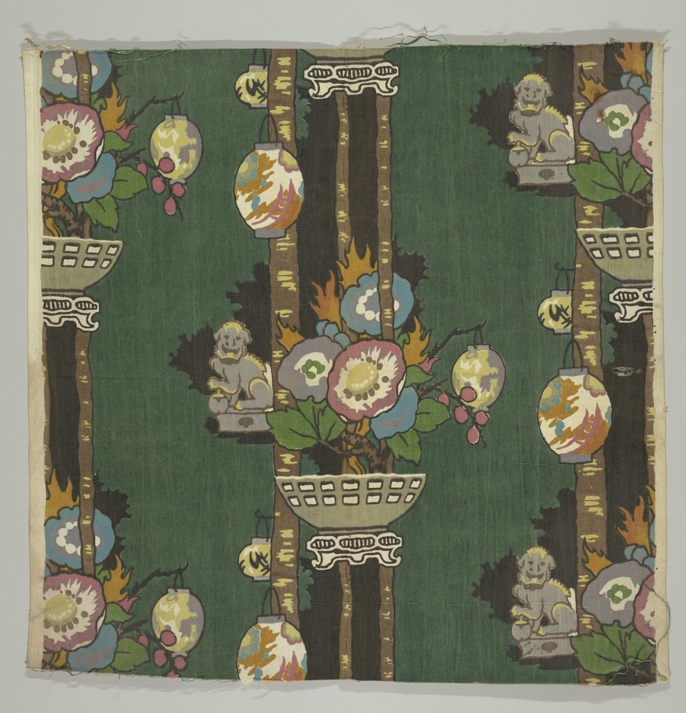 """Chinese"" design of flowers and Chinese lanterns and foo dogs on dark green background."