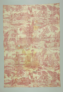 """Textile printed in red on white showing six satirical scenes with horsemen riding to military encampments. On a barn are the initials """"A I"""" and on the end of a drum """"Royal Artillery G III R""""."""
