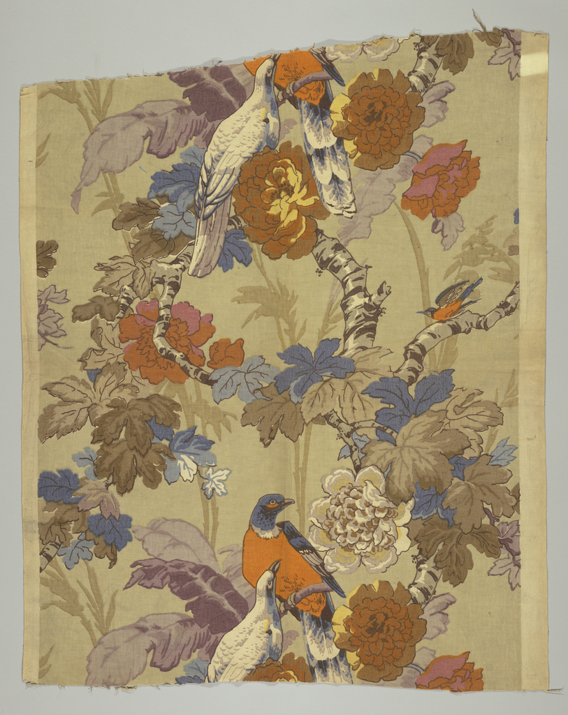 Large and small birds in orange, blue and white perch on branches with leaves and flowers in muted tones of brown and gray with shades of orange, blue, purple, and yellow.