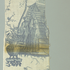 Six fragments of a chinoiserie design featuring a pagoda on a rock bridge, and people taking tea. In blue on white.