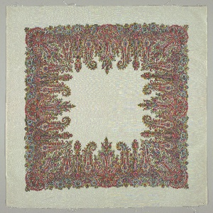 White taffeta square for a handkerchief has a deep border of a multicolored chiné-printed design based on the Persian cone motif.