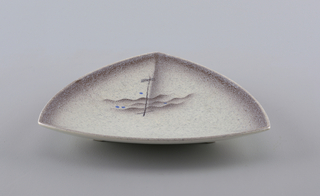 Triangular shaped dish with curved edges sitting on three short feet.  Light gray ground speckled with lavender.  Solid lavender edge dotted with brown that runs into the creases that run from the triangle's points. Off-center abstract design of three brown wavy lines, five straight crossing brown lines, and four blue dots.