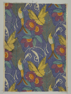 Polychrome block print on shaded blue ground. Large green leaves with mauve, yellow and orange flowers, a large yellow butterfly and a white, yellow, and blue bird form a pattern with a one-half drop repeat.