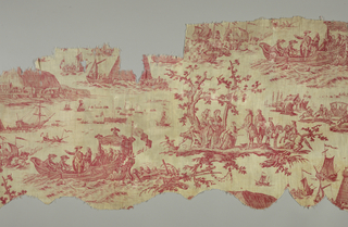 Horizontal rectangle made up of three short lengths sewn together correctly. Design of several scenes pertaining to Louis XIV's 1786 visit to the city of Cherbourg where he viewed the cones that were being used to help build a dike. In red on white.