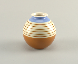 Spherical vessel with short flaring lip. Striped glaze at center, blue and white glaze at top and orange-brown glaze at bottom.