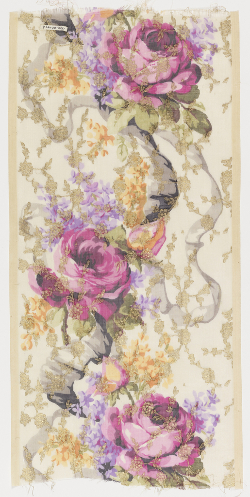 Four samples of a broad sheer silk ribbon with multicolored printed design of life-sized roses and violets caught in the loops of a serpentine ribbon. Allover gold brocaded design of a small-scale vine with rosette-like flowers. Both selvedges present on all samples.