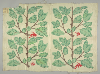 Printed textile showing pattern of a red bird and butterfly in the branches of a tree.