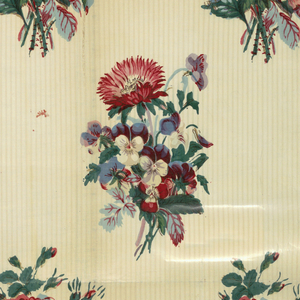 Bouquets of pansies and asters in polychrome on an off-white ground with narrow stripes.