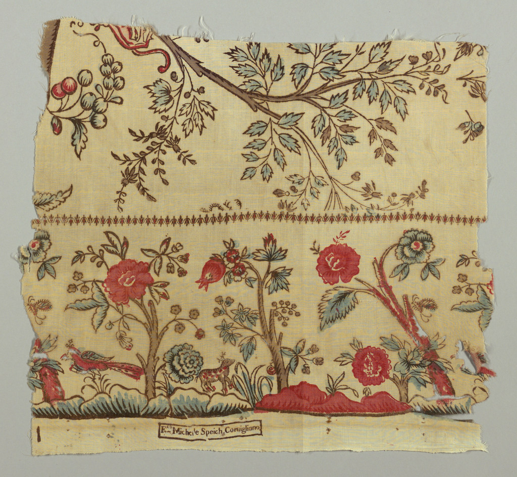 """Border fragment of a toile de gêne or mezzaro with trees and animals. Above narrow decorative border are tree branches with sprigs of berries. Factory mark is printed along bottom selvage and reads: """"Fco Michele Speich, Cornigliano."""""""
