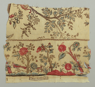 "Border fragment of a toile de gêne or mezzaro with trees and animals. Above narrow decorative border are tree branches with sprigs of berries. Factory mark is printed along bottom selvage and reads: ""Fco Michele Speich, Cornigliano."""