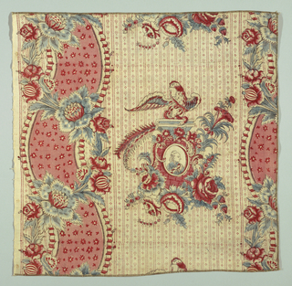 Cream-colored cotton block printed in blue, red and dark brown for outlines. Medallion framing a man in a tie wig. Perched above the medallion is an eagle with a snake in its beak. Wide curving band crossed with flower sprays with background printed in red stripes and small dots.