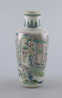 """""""Famille verte"""" decoration; oviform vase; the sides depicting women watching from a doorway as a nobleman departs in a rickshaw."""