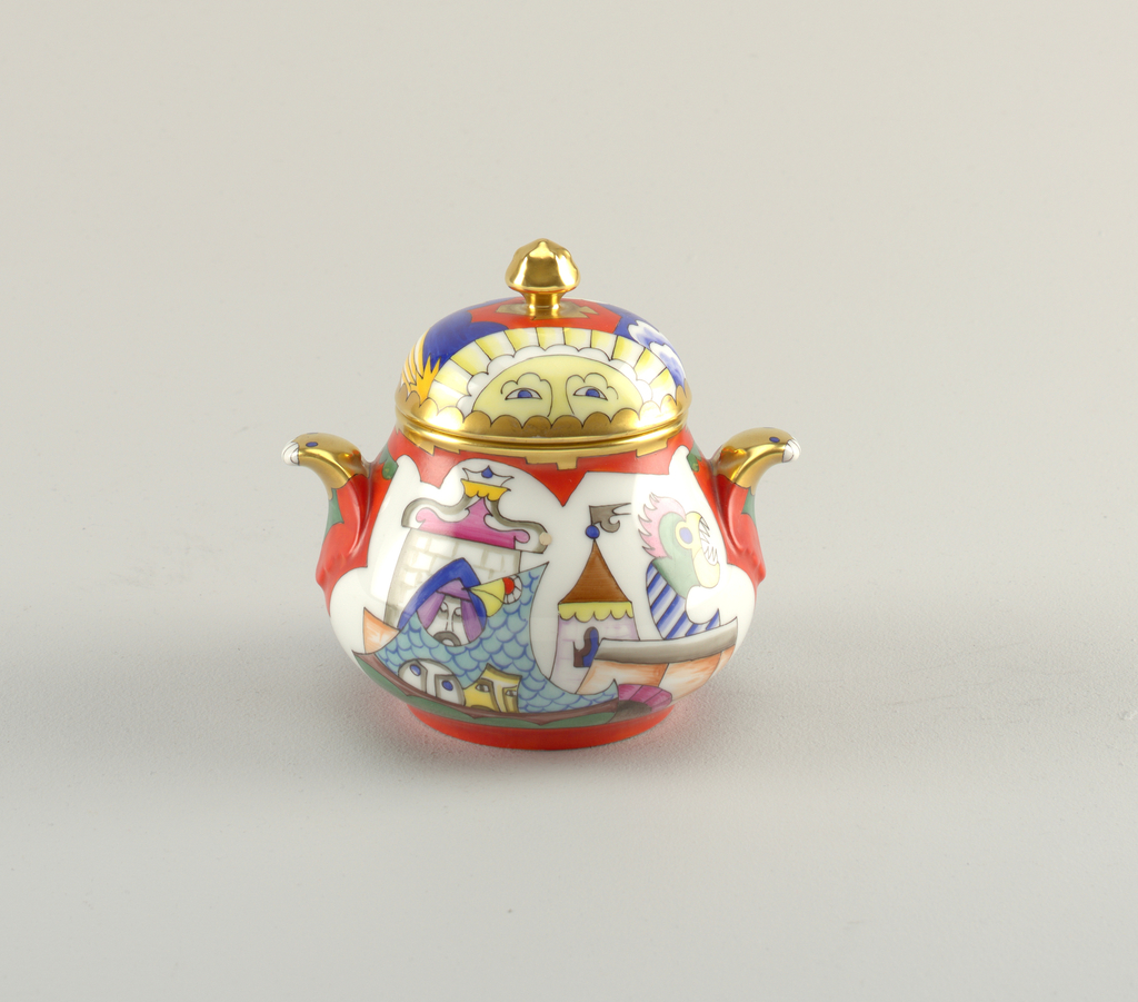 Bulbous bowl depicting multicolored castle, dragon, and other abstract figures; has two outturned gilt handles and gilt rim. Lid depicting sky with moon, stars and clouds and artichoke-like gilt finial.