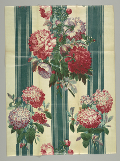 Large sprays of peonies and hydrangeas in pink and purple on a green and white striped ground.
