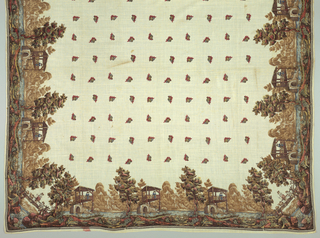 Shawl in fine white cotton printed in polychrome and what appears to be hand painted additions.  Border design is a rural scene along a river; corners feature a rustic bridge, shepherdess and boy on bridge. In center, small bouquets printed in regular intervals form a square. Selvages present.