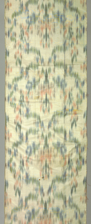 Long panel with chiné warp blazes forming large-scale symmetric vertical repeat of floral forms in scalloped continuous ogival framework in shades of green, blue, pink and brown on undyed silk ground. Two narrow plain selvedges.