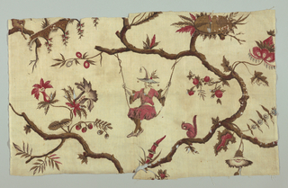 Fragment, in polychrome, showing flowering tree pattern with chinoiserie figure in swing, attached to branch, looking at squirrel.