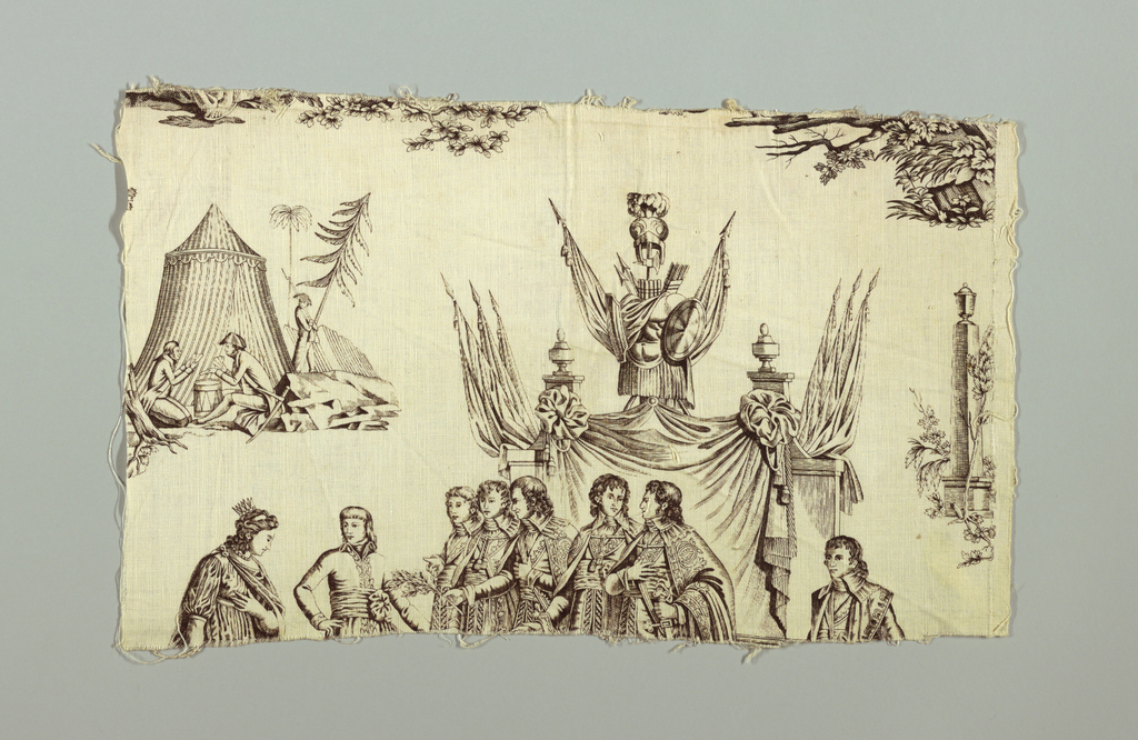 Four fragments of a pattern that appear to be an allegory based on events relating to Napoleon; several officers receiving homage from a woman dressed in Grecian robes and people kneeling and presenting their arms to Napoleonic soldiers. Pattern incomplete. In sepia on white.