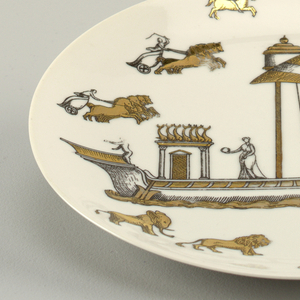 A ship with classical figures and architecture surrounded by animals and chariots.