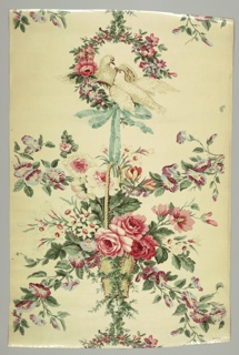 Panel of glazed multicolored chintz on a white ground. Design shows two doves in a flower wreath at top. A blue ribbon with a bow hangs from the wreath and supports a handled basket with roses, morning glories and other flowers.
