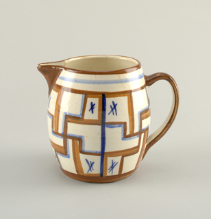 Low jug with handle. Orange-brown linear decoration with blue accents.