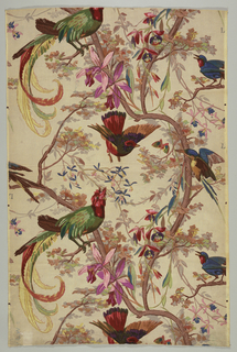 Four different birds in a curving vine bearing orchids.