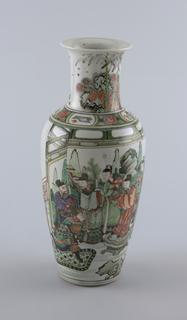 """Famille verte"" decoration; oviform vase; the sides depicting four sages in a rought, rocky landscape."