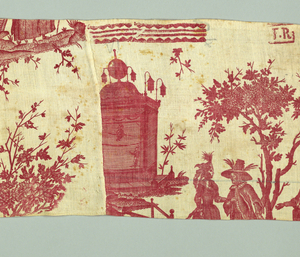 A valance printed in red with the marks of the manufacturer. A full width of the fabric, with the marks at the bottom is stitched together with a partial width, with the marks at the top.