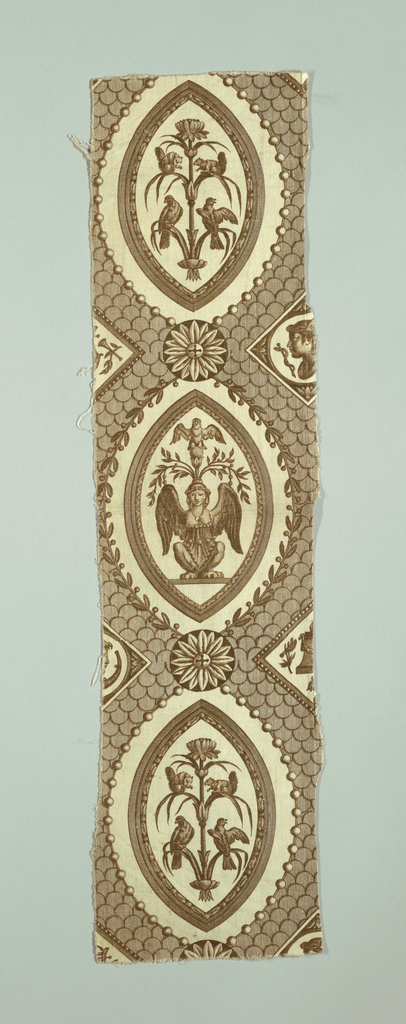 Circular and oval cartouches containing goddesses and decorative ornament on a background of scalloped lines. In brown on white.