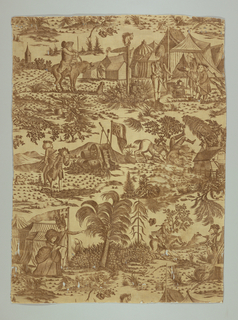 Length of cream cotton, composed of two pieces stitched lengthwise, copperplate printed in brown. Six satirical scenes in a military encampment: soldier being thrown from his horse, a woman in a large bonnet being escorted into the camp. etc. On a barn are the initials A.D., and on the end of a drum the words Royal Artillery G. 111. Based on satirical engravings by Henry Bunbury (1750 - 1811).