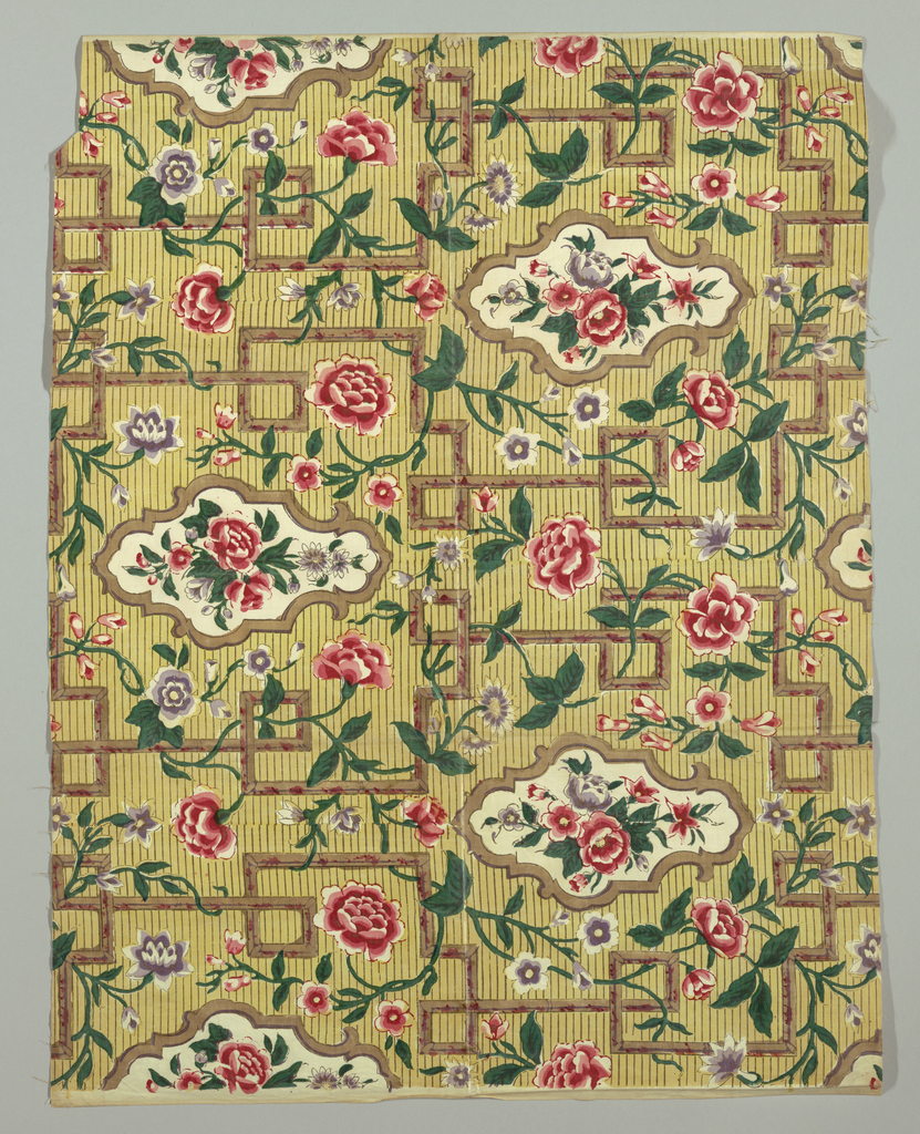Allover meandering floral design and widely-spaced cartouches with bouquets on a yellow ground with narrow brown horizontal stripes and a geometric fretwork pattern in brown.
