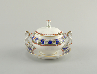 Sugar Bowl, Lid, And Tray (Russia)