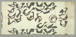 Abstracted design of birds, with a nest with four chicks. Printed in gray on white.