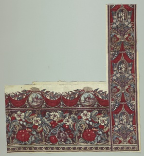 Horizontal and vertical border which coordinate with each other. Piece is made of several smaller fragments pasted together. Horizontal border of flowers and pastoral lozenges. Vertical border of draperies and classical scenes.