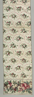Allover design of floral sprays in red, green and pink on off-white ground. Border with large and small flowers in red, green and tan.