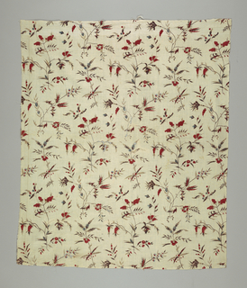 Length (ripped from a skirt) of cream colored cotton, block-printed in desgin of thin flower sprays, with pointed leaves, small wild flowers, and sprays bearing print (strawberries (?)). colors red, blue, yellow, plum color, and darkbrow for stems, Both selvages present.