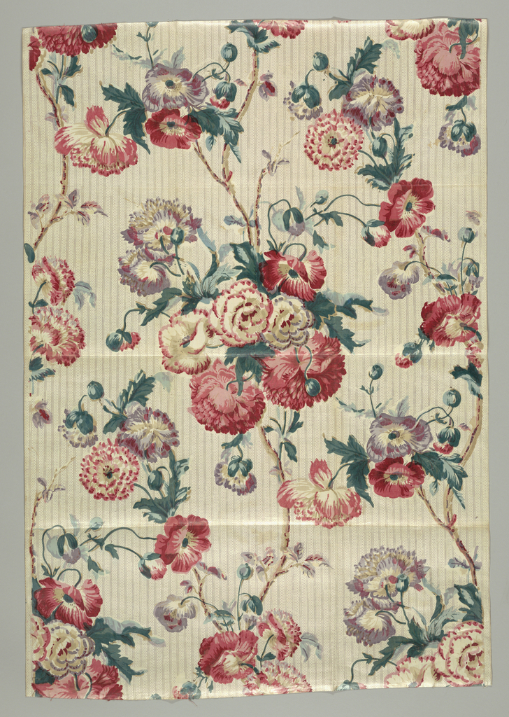 Large-scale floral motifs in polychrome on an off-white, striped ground.