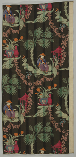 On a black ground, in bright red, orange, green, and blue, is a chinoiserie scene of a sage, goose, and a pagoda connected by garlands and a large palm tree. Cotton plain weave has self-stripe in satin weave.