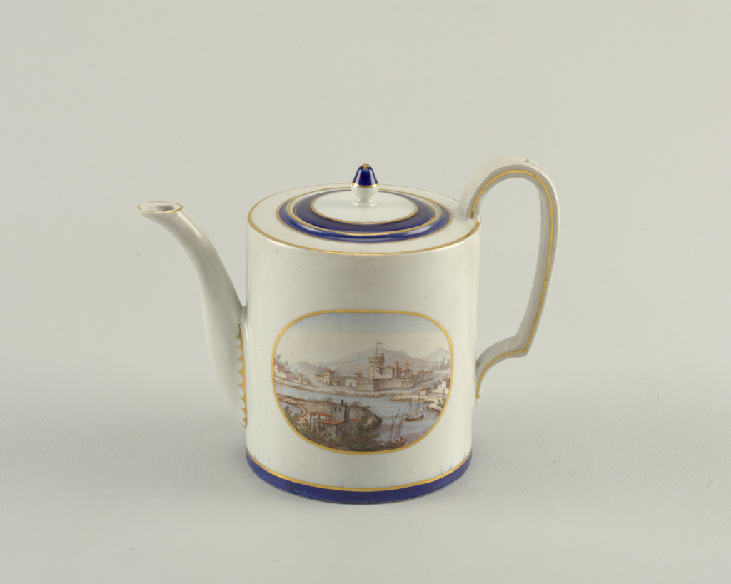 Cylindrical, with high looped handle, curved spout. Flat cover with finial. Within an oval cartouche, a harbor scene. Blue band at bottom.
