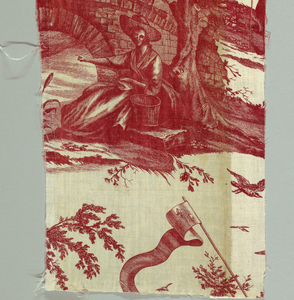 Figures in rural landscapes and a banner with three fleur de lys.  In red on white.
