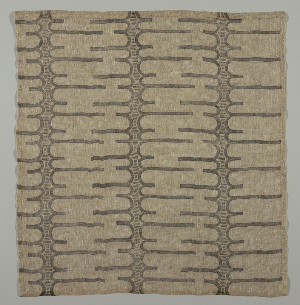 Horizontal bands of squiggly forms in black line on loosely woven, natural linen foundation. Printed from a block cut by the donor.