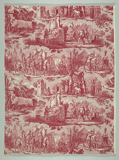 Red print on white ground showing six vignettes from the life of Jeanne d' Arc; including storming a wall, scenes in camp, entry into city, appearance before king, at prayer, and at stake. Ground has all-over design of minute dots and stars.
