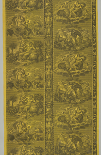 Black printed on yellow ground. Four gods arranged in stripes: Vulcan, Juno, Venus, Saturn or Pluto. Central stripe attributed to the four elements, stripe at right the twelve signs of the zodiac.