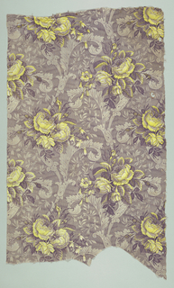 Large uneven fragment of cotton with elaborately roller printed ground, in wave pattern, foliage clusters and long scrolling leaf crossing design, in lighter gray and over printed with clusters of natural size roses in yellow and sepia.