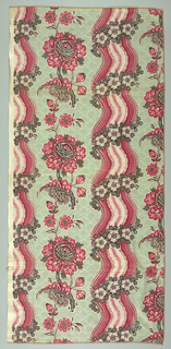 Design is reproduction of an 18th century French block print: curving stripe and large flower.