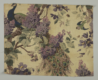 Polychrome block print on tightly woven natural linen. Realistically colored blue and green peacock sits in branches of lilac. A green and blue swallow ?, purple and tan butterflies among branches and parts of other purple flowers show in incomplete repeat.