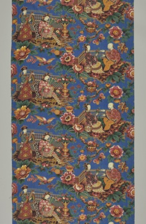 Chintz with a brilliant blue ground showing a coarse chinoiserie design in red, yellow, blue, black, brown and green. Two groups of Chinese figures in staggered repeat.