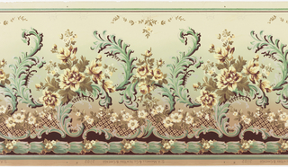 Large foliate scrolls alternate with floral bouquet on shorter scroll. Trellis work near bottom edge, with band of floral rope at bottom. Background shades from light yellow-green at top to green to tan at bottom.