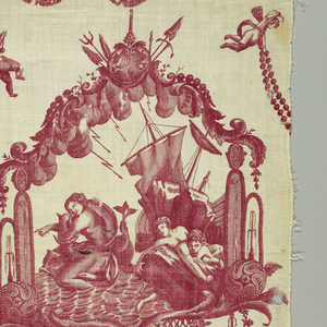 Design in red on white on a long narrow piece. Scene of a shipwreck alternate with curving scrolls.