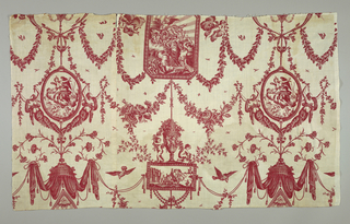 Design of four framed allegorical scenes, separated by swags, floral garlands and cornucopias. Red on white.